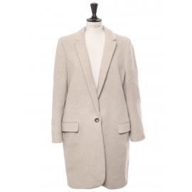 BRYCE beige melton wool-blend felt coat Retail price €1095 Size 46