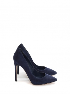 Escarpins en suède bleu marine talon stiletto bout pointu Prix boutique 560€ Taille 36,5