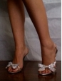 Silver leather stiletto sandals with a white glitter bow Size 38,5