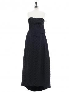Robe de soirée longue, bustier en soie bleu marine à pois Prix boutique 6000€ Taille 36