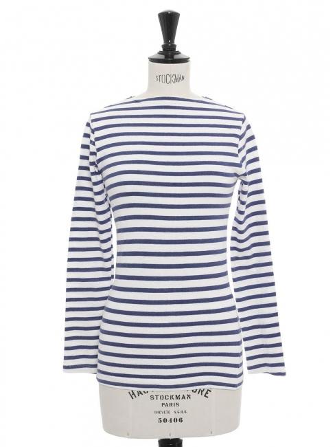 Long sleeves white and blue cotton breton top Size XXS