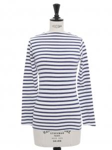 Top manches longues marinières en coton rayé bleu marine et blanc Taille XXS