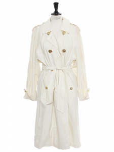 Cream white long trench coat with gold anchor buttons Size 38