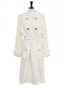 Trench coat long blanc crème à boutons dorés encres Taille 38