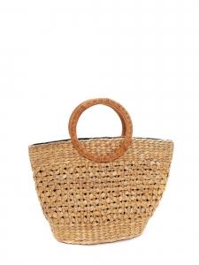 Beige straw handbag with round handles