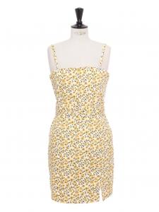 Petite robe d'été à fines bretelles et ceintures en coton blanc imprimé fleurs de tournesol jaune Taille 40
