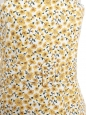Yellow and white sunflower print summer dress with large belt and thin straps Size 40