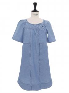 Short sleeves blue denim mini dress Retail price €300 Size 36