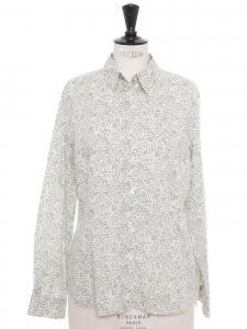 Chemise manches longues en coton imprimé fleuri liberty jaune blanc bleu vert Taille 40