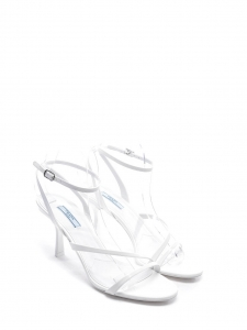 Low heel white patent leather strappy ankle sandals Retail price $690 Size 39.5
