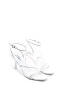 Sandales à talon en cuir verni blanc et bride cheville Prix boutique $690 Taille 39,5