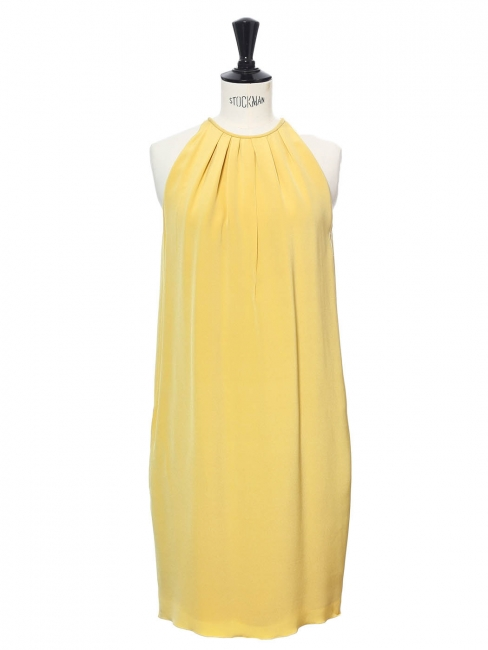 Light honey yellow silk sleeveless cocktail dress Retail price €2000 Size 42