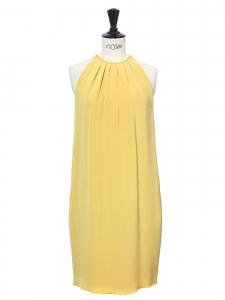 Robe de cocktail en soie jaune miel très doux épaules dénudées Px boutique 2000€ Taille 36