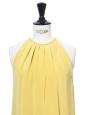 Light honey yellow silk sleeveless cocktail dress Retail price €2000 Size 36