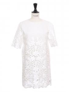 Robe Harper en ramie blanc manches courtes dentelle fleurie Taille XS