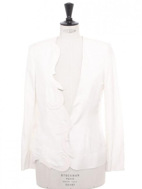 Shantung embroidered swan white asymmetrical blazer jacket Retail price €1100 Size 34 to 36