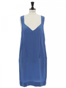 Ocean blue fluid silk dress with large straps Retail price €500 Size 40