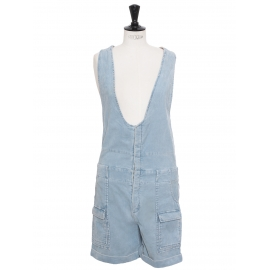 Light blue corduroy playsuit with large straps Retail price €900 Size 36