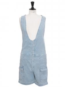 Salopette short en velours côtelé bleu clair Taille 36