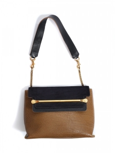 CLARE Medium navy blue, duck blue and burgundy red leather shoulder bag Retail price €2250