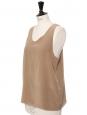 ICONIC tan beige silk crepe tank top Retail price €390 Size 38