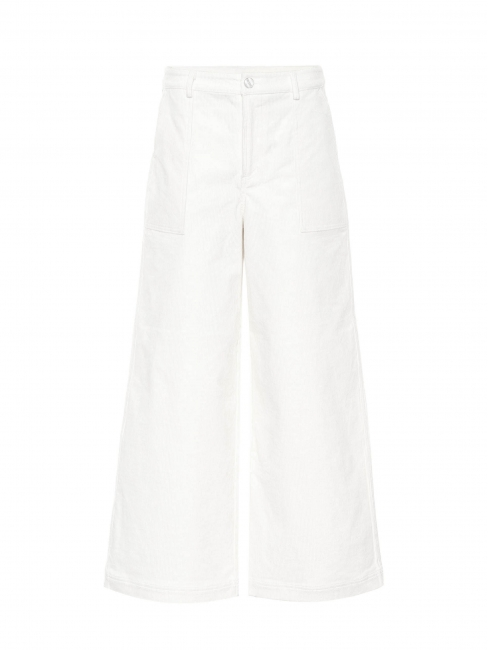 High waist wide leg ecru wight corduroy pants Retail price $330 Size 36