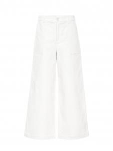Pantalon taille haute évasée en velours côtelé blanc écru Prix boutique $330 Taille 38
