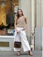 High waist wide leg ecru wight corduroy pants Retail price $330 Size 38