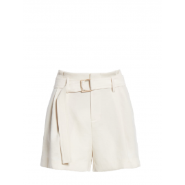 Ivory white crepe high waist belted short Retail price $195 Size 38