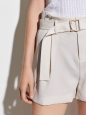 High waist shorts with ivory pampa belt Retail price $195 Size 38