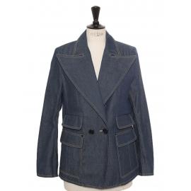 Dark blue raw denim blazer jacket Retail price €1500 Size 38 to 40