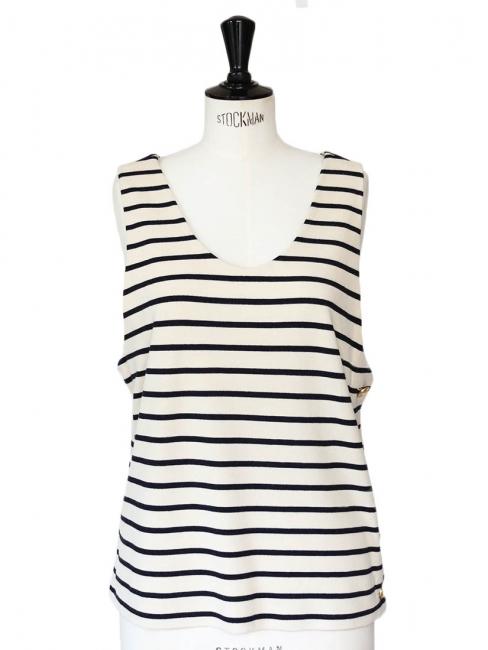 Cream and dark blue striped sailor tank top Size 36