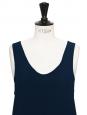 ICONIC Navy blue silk tank top Retail price €390 Size 38 to 40