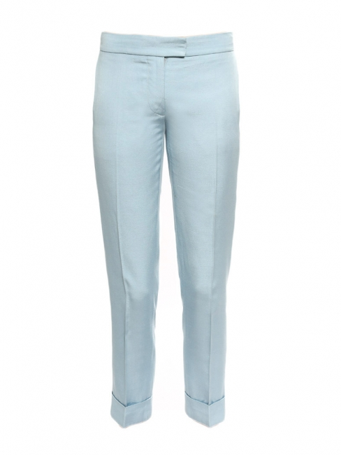 Baby blue tailored pleated pants Retail price €450 Size 38