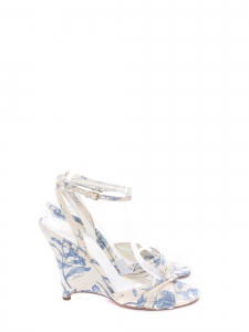 BURBERRY Sandales compensées bout ouvert en toile motif fleuri bleu et blanc Px boutique 400€ Taille 39