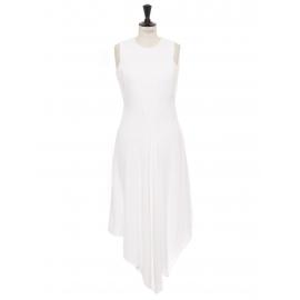 White asymmetric cutout cady midi dress Retail price $995 Size 36