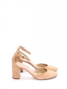 Escarpins LAUREN en veau velours beige nude NEUFS Prix boutique 490€ Taille 39