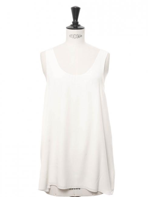ICONIC Ivory white silk crepe tank top Retail price €390 Size 38