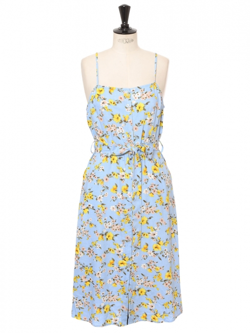 Thin strap belted light blue midi dress with pink and yellow flower print Size 38/40