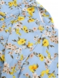 Robe à fines bretelles longueur midi en coton imprimé fleuri bleu clair jaune et rose Taille 38/40