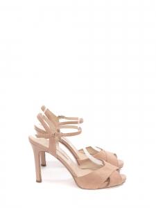 Sandales en suede rose clair à talon cuir verni et bride cheville Prix boutique 490€ Taille 40