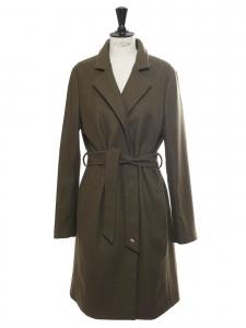 Khaki green wool blend belted coat Retail price €700 size 36