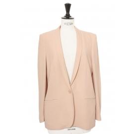 ELLIOT classic powder pink crepe blazer jacket Retail price $1095 Size 38