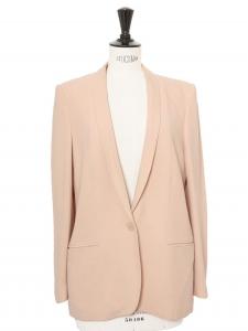 Veste blazer ELLIOT classique en crêpe rose pâle Px boutique $1095 Taille 38