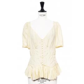 Light yellow polka dot silk ruffled blouse Retail price €900 Size 38