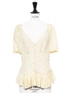 Sand yellow silk ruffled blouse Retail price €800 Size 36