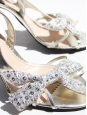 Sandales stilettos en cuir argent et noeud glitter blanc T 39