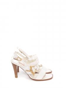 Sandales à talon bois en cuir blanc et boucle dorée NEUVES Prix boutique 550€ Taille 39,5