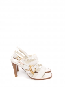 White leather heel sandals with gold buckle Retail price €550 Size 39.5