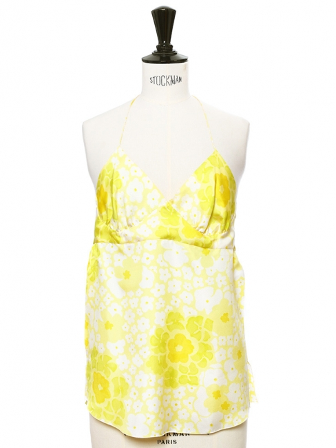 Yellow floral printed silk open back tank top Retail price €490 Size XS